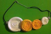 Yellow Drop Necklace / Yellow Drop Necklace is made out of cotton. It can be worn long or again wrapped around the neck for a more fitted look. The circles are made with African print material and fixed to the longer part of the necklace. It's all made of cotton and light weight.