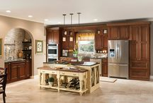 transitional look with dark brown cabinets