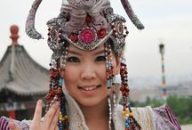 Mongolian woman at cultural event::