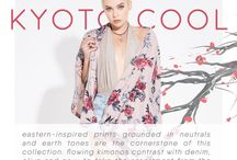 KYOTO COOL / eastern-inspired prints grounded in neutrals and earth tones are the cornerstone of this collection. flowing kimonos contrast with denim, olive and navy to take the assortment from the floral gardens back to the bustling city streets.