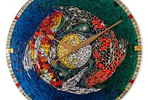 Mosaic Wall Clocks / Time becomes a thing of beauty with these beautiful handmade mosaic clocks.