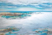New Seascapes by Louise Brooks / We have just received a new collection from Louise. These embellished canvases with semi precious stones create a texture that mirrors the wild nature of the ocean and will brighten up any wall.
