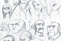 bocetos de personajes