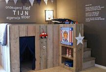 Charlie's room / Charlie's bedroom 2015....stars & stripes/ red, blue & grey/ oak wood/ brick wall/ USA!!!