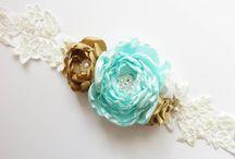 Satin ribbon lace mint gold white pealrs wedding sash belt brooch