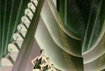 Vintage Visions: Art Deco & Art Moderne / Art Deco (1920 to 1940): an eclectic style that combines traditional craft motifs with Machine Age imagery and materials, characterized by rich colors, bold geometric shapes and lavish ornamentation.  Streamline Moderne, or Art Moderne, was a late type of the Art Deco architecture and design that emerged in the 1930s. Its architectural style emphasized curving forms, long horizontal lines, and, sometimes, nautical elements. / by Jacque Peters