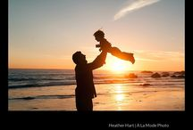 Sunset Beach Family Photography - Beautiful Family Pictures / Sunset and Silhouette Pictures - Fun Family Beach Picture Ideas - Family Photography by Heather Hart of A La Mode Photo www.alamodephoto.com