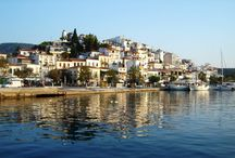 Skiathos island, Greece / Skiathos (Greek: Σκιάθος, Skiáthos, pronounced [ˈscaθos]; Ancient Greek: Ancient Greek: Σκίαθος, Skíathos; Latin forms: Sciathos and Sciathus) is a small Greek island in the northwest Aegean Sea. Skiathos is the westernmost island in the Northern Sporades group, east of the Pelion peninsula in Magnesia on the mainland, and west of the island of Skopelos.
