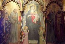 MADONNA COL BAMBINO - Bicci di Lorenzo (metà sec. XV) / Bicci di Lorenzo: Madonna col Bambino, Angeli e I santi Antonio e Nicola di Bari (a sinistra dello spettatore), Francesco e Ludovico da Tolosa (a destra). Fiesole, convento dei Francescani