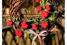 věnce na téma láska, valentýnské / věnce na stěnu, dveře na téma láska, valentýn