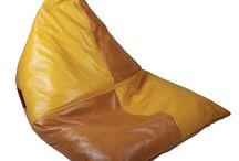 Vintage Leather Skin Poof