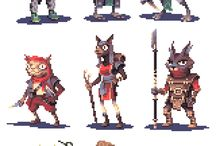 pixel characters style C