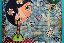 MIXED MEDIA by PATTY TANUZ / Canvas with a Digi Stamp of Megan Suárez... by Patty Tanúz....
