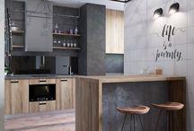 Loft studio / Современная холостяцкая квартира в стиле лофт. Мы отвели максимально большое пространство на зону гостиной с диваном, удобным креслом и ТВ. Кухня совмещенная с лоджией соседствуют с гостиной, их условно разделяет барная стойка, которая исполняет роль обеденного стола это и место приема пищи и одновременно рабочий стол. Над барной стойкой подвесная декоративная металлическая конструкция с  акриловым стеклом и растениями, которые подсвечивает LED-подсветка .