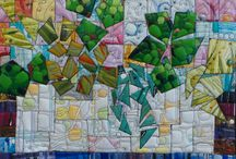 Art Quilts - Stitched paintings still life / Paintings of still lives created from previously painted canvases, constructed then quilted
