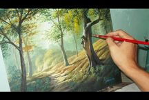 Painting forest trees