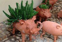keramik dyr /fugle til blomster