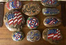 patriotic American painted rocks