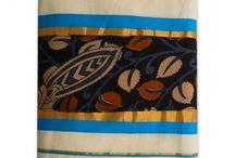 Kalamkari printed Kerala Kasav Saree