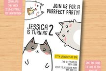cat birthday invitation