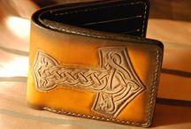 Thor Hammer Bi-Fold leather wallet,handtooled