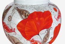 Coquelicots red poppy / coquelicots et pavots, fleurs libre et légère décor coquelicots sur porcelaine  #nocesdeporcelaine #nocesdecoquelicots