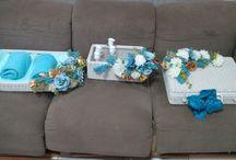 syntetic rattan blue flowers