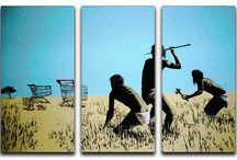 """Banksy Wall Art - Split-Panel Canvas Prints / A collection of Banksy wall art canvas prints to buy - these are all in the """"split-panel"""" form"""
