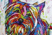 vrolijke schilderijen hond