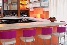 Yogurt Pop - Cupcake Shop / Bright pops of day-glo colors, minimal, glossy, fun! Furniture is usually plastic poly chairs or stools. / by Ashley Andrews