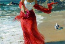 Lady at beach / Oil