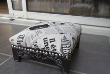 REPOSE PIED / repose pied relooké, peinture et tissu