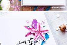 Cards - Underwater, Sea, Ocean, Mermaid, Seal, Manatee, Whales, Fish, Octopus, Turtle
