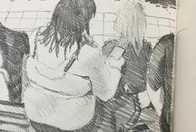 my work Spectators poolside #Bodmin #sketchbook #indieartblast #drawing @blackwing #pencil