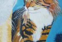Schilderijen door Audrey Vrieling. / Schilderijen en tekeningen. Acryl op canvas, pastelkrijt, aquarel enzzzz