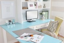 House - Craft Room/Office / White & Dark brown furniture.  Peacock Blue Accents. / by Pam Migliore