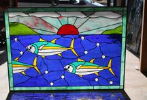 Fish Stained Glass Windows! / Hand cut Fish inspired Stained Glass Windows! We can make these in any size or with any fish ytou want!   Email for a free and quick quote.  http://stainedglasswindows.com/