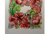 kvety kreslené, ...