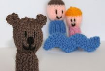 knitted finger puppies