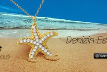 14K Solid Gold Sea Star Necklace