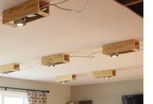 Recessed lights wood beams
