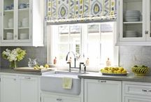 Lemon and grey kitchen