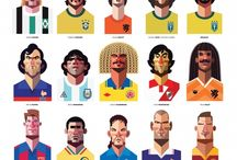 Caricaturas de futbolistas,Sélection de caricatures de footballeurs / by jacques oger