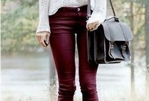 Wine red jeans <3 / Ways to wear and style red/wine/maroon/burgundy jeans