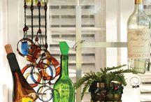 recycled wine/vodka bottles