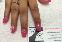 AK nails / Pink acrylics and gel polish  / by Cara Robb