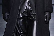 leather suit tie