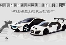 1st Anniversary / Let's celebrate our 1st anniversary. Shop at www.rudedogonline.com for chances to win prizes.