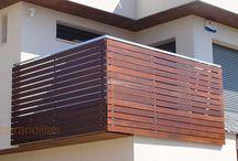 Barandillas Exteriores de Madera / Barandilla en laminas de madera.