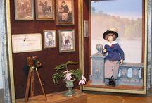 Poppenhuizen-Miniaturen in boekdozen - eigen werk